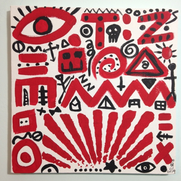 Zufällige Symbole- Tribute to A.R. Penck Linda Cleary 2014 Acrylic on Canvas