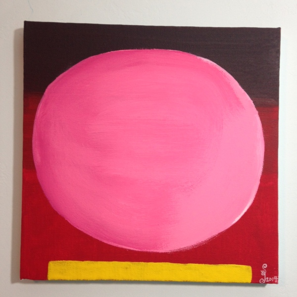 Rosa Kugel auf Rot mit gelben Streifen- Tribute to Rupprecht Geiger Linda Cleary 2014 Acrylic on Canvas