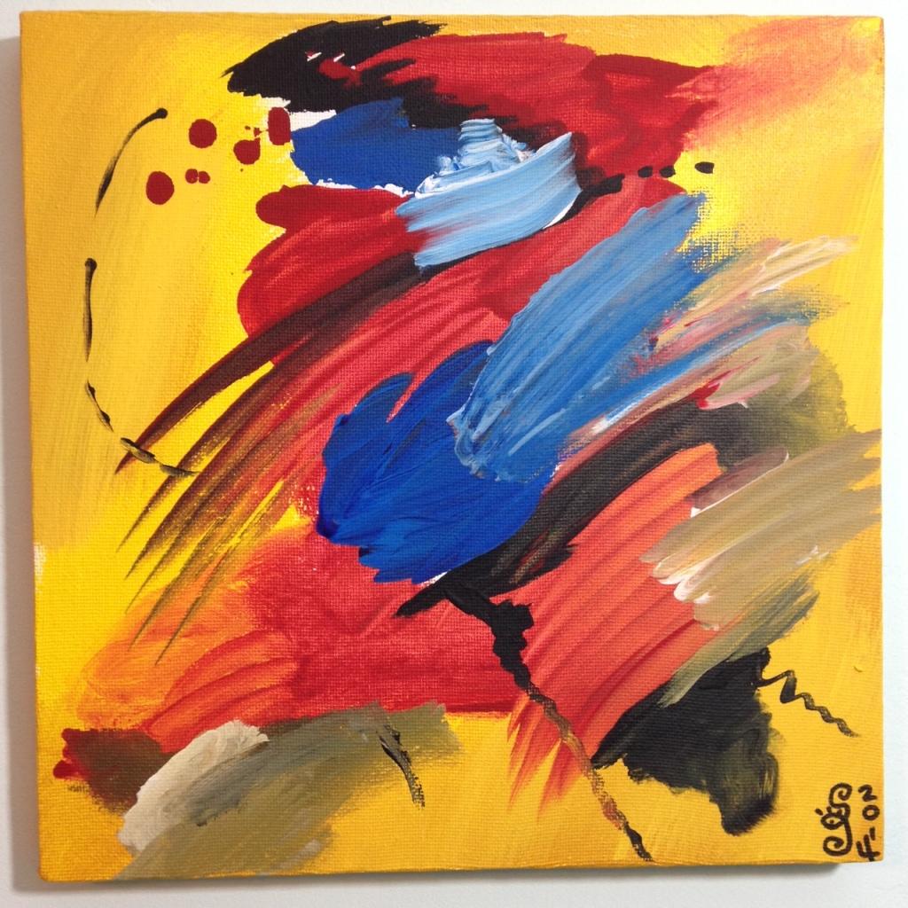 Rot und Blau Tanzen- Tribute to Josef Mikl Linda Cleary 2014 Acrylic on Canvas