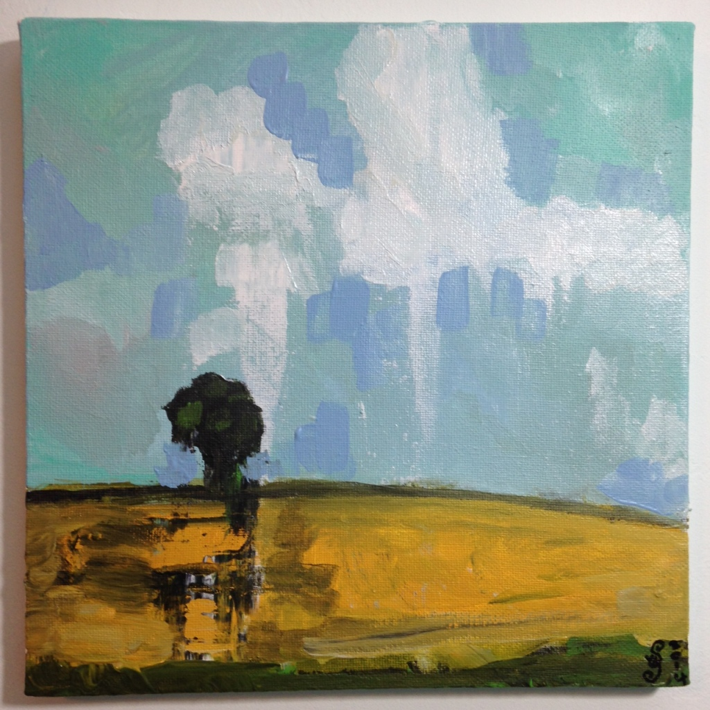 Lonely Tree- Tribute to Pamela Munger Linda Cleary 2014 Acrylic on Canvas
