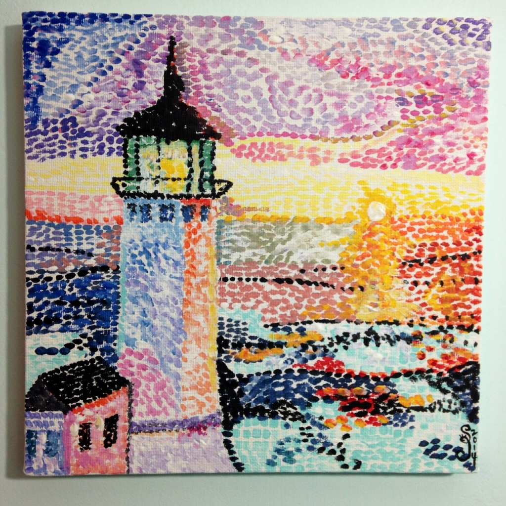 Phare Par La Mer- Tribute to Paul Signac Linda Cleary 2014 Acrylic on Canvas