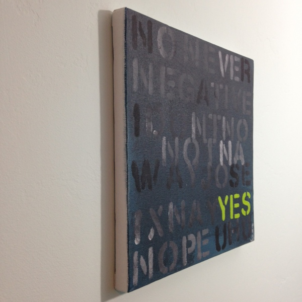 Side-View No, think YES- Tribute to Mel Bochner Linda Cleary 2014 Acrylic on Canvas