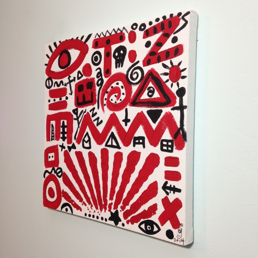 Side-View Zufällige Symbole- Tribute to A.R. Penck Linda Cleary 2014 Acrylic on Canvas