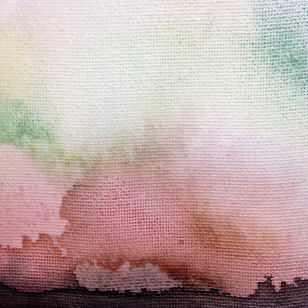 Close-Up 1 Dark Horizon- Tribute to William Tillyer Linda Cleary 2014 Watercolor on Canvas