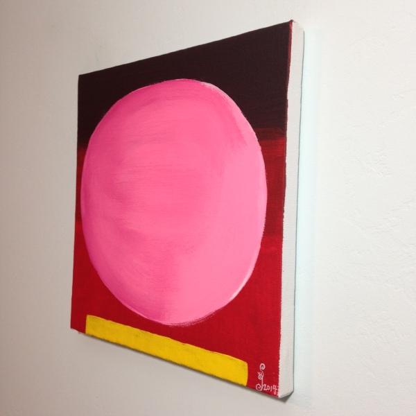 Side-VIew Rosa Kugel auf Rot mit gelben Streifen- Tribute to Rupprecht Geiger Linda Cleary 2014 Acrylic on Canvas