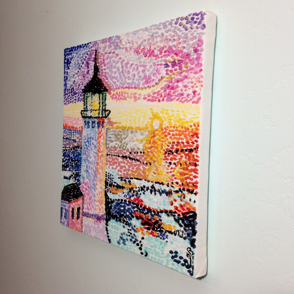 Side-View Phare Par La Mer- Tribute to Paul Signac Linda Cleary 2014 Acrylic on Canvas