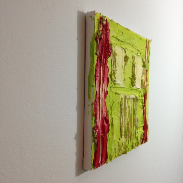 Side-View Green & Red- Tribute to Bram Bogart Linda Cleary 2014 Mixed Media on Canvas