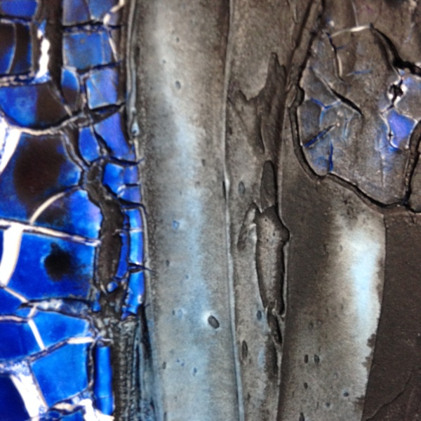 Close-Up 1 Blu e Nero- Tribute to Marcello Lo Guidice Linda Cleary 2014 Mixed Media on Canvas