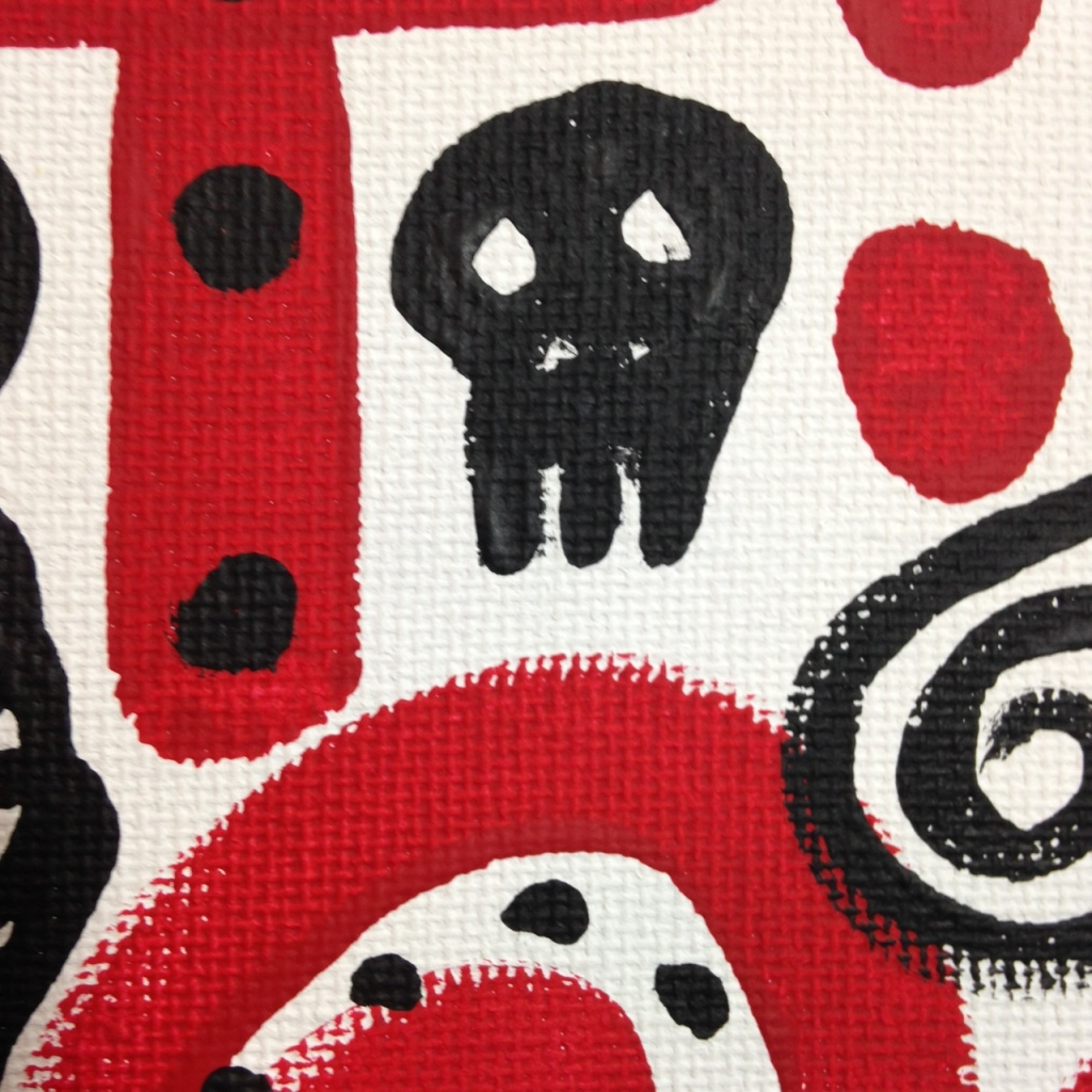 Close-Up 1 Zufällige Symbole- Tribute to A.R. Penck Linda Cleary 2014 Acrylic on Canvas