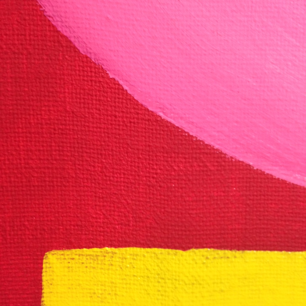 Close-Up 1 Rosa Kugel auf Rot mit gelben Streifen- Tribute to Rupprecht Geiger Linda Cleary 2014 Acrylic on Canvas