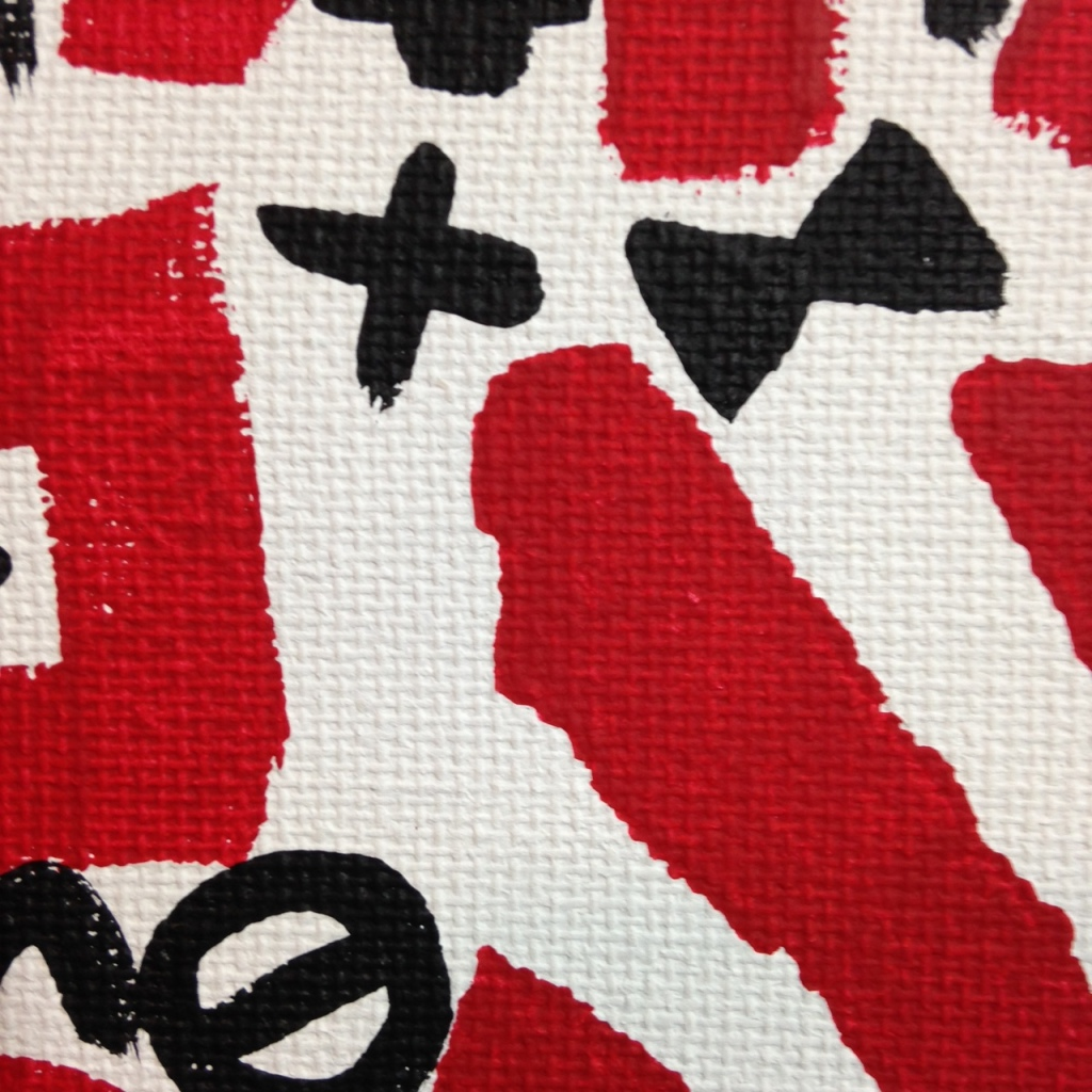 Close-Up 2 Zufällige Symbole- Tribute to A.R. Penck Linda Cleary 2014 Acrylic on Canvas