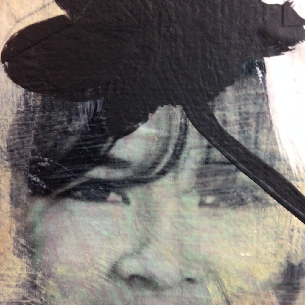 Close-Up 2 Childhood- Tribute to Donald Baechler Linda Cleary 2014 Mixed Media on Canvas