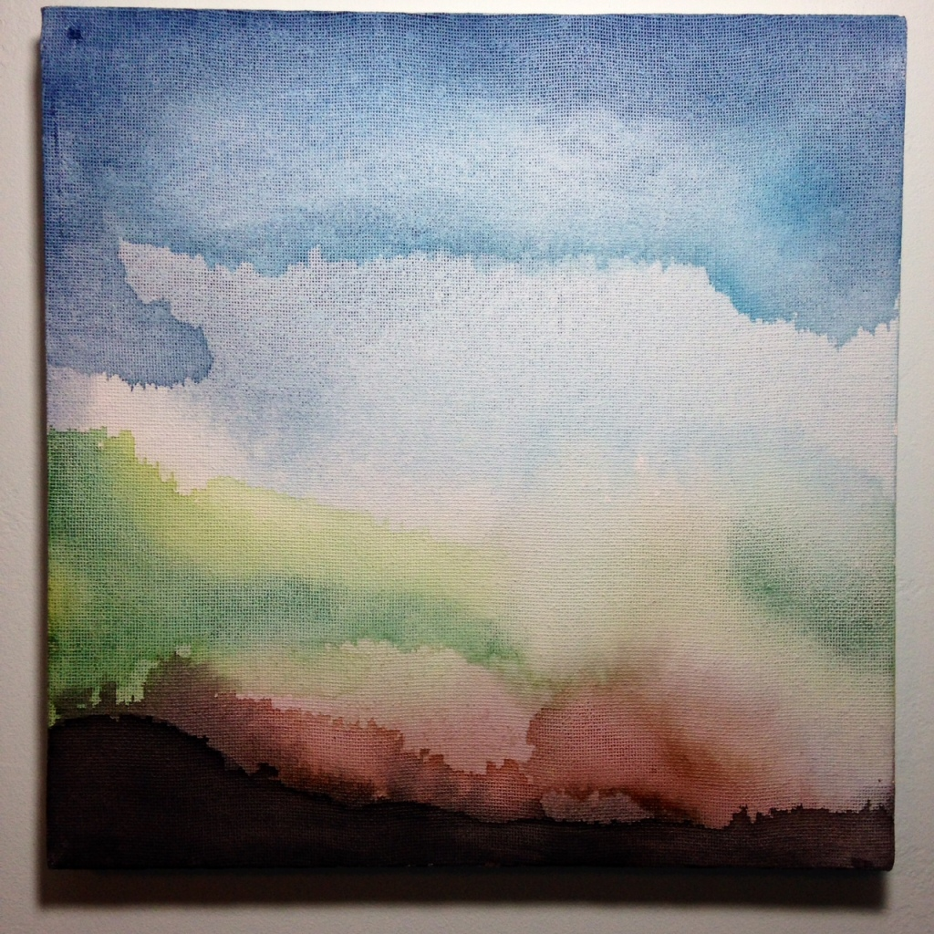 Dark Horizon- Tribute to William Tillyer Linda Cleary 2014 Watercolor on Canvas