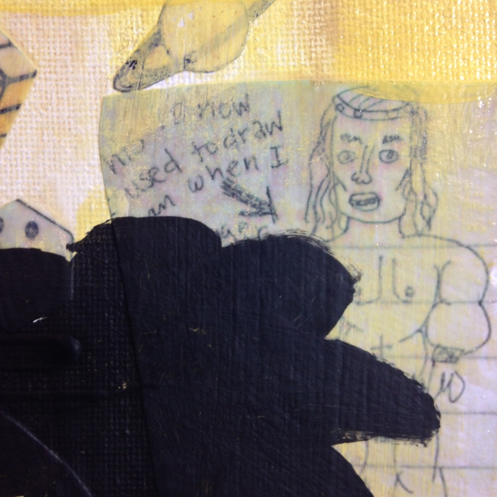 Close-Up 3 Childhood- Tribute to Donald Baechler Linda Cleary 2014 Mixed Media on Canvas