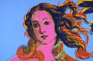 Details of Renaissance Paintings (Sandro Botticelli, Birth of Venus, 1482), 1984 Read more at warhol.org: http://www.warhol.org/collection/art/work/1998-1-307/#ixzz3GLUko5WK