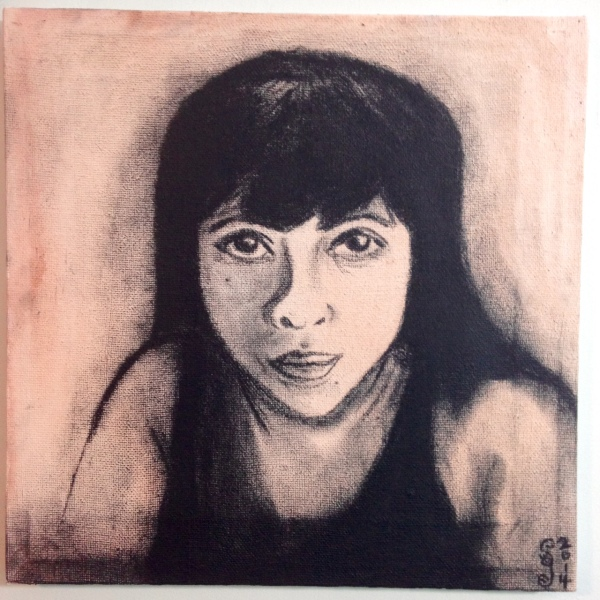 Self-Portrait- Tribute to Kathe Kollwitz Linda Cleary 2014 Stain & Charcoal on Canvas
