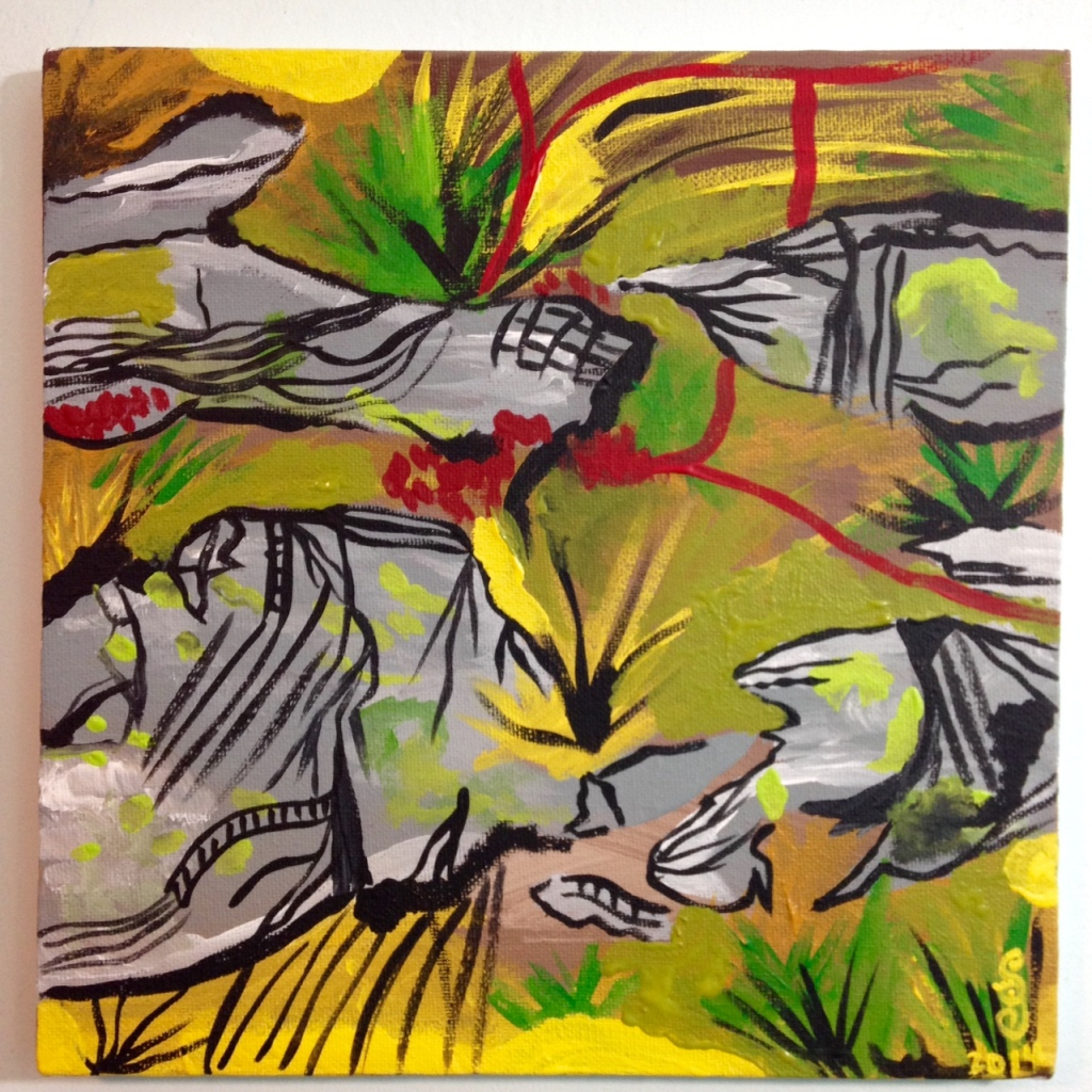 Klipper og Sprækker- Tribute to Per Kirkeby Linda Cleary 2014 Acrylic on Canvas