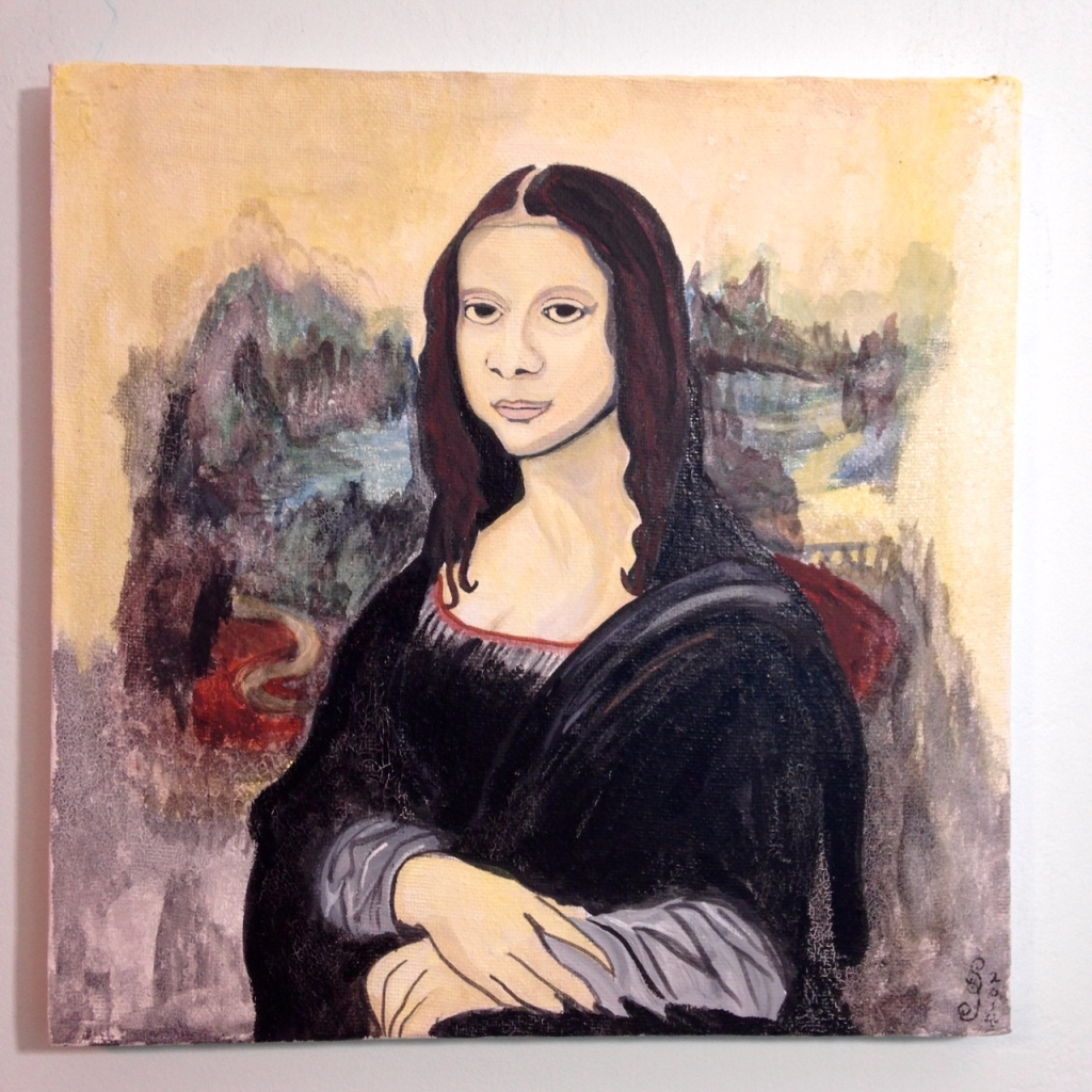 Mona Linda- Tribute to Leonardo da Vinci Linda Cleary 2014 Acrylic, Watercolor and Crackle paint on Canvas