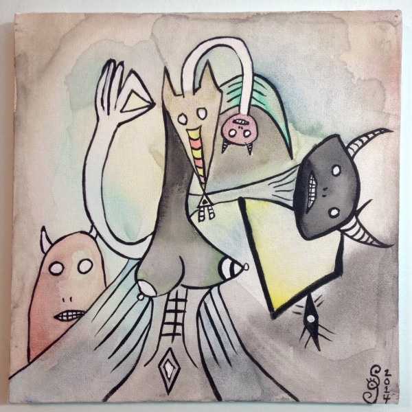 Inner Spirits- Tribute to Wifredo Lam Linda Cleary 2014 Watercolor & Acrylic on Canvas