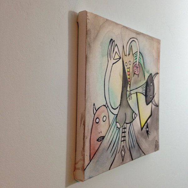 Side-View Inner Spirits- Tribute to Wifredo Lam Linda Cleary 2014 Watercolor & Acrylic on Canvas
