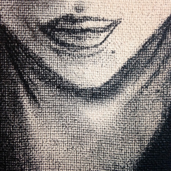 Close-Up 3 Self-Portrait- Tribute to Kathe Kollwitz Linda Cleary 2014 Stain & Charcoal on Canvas