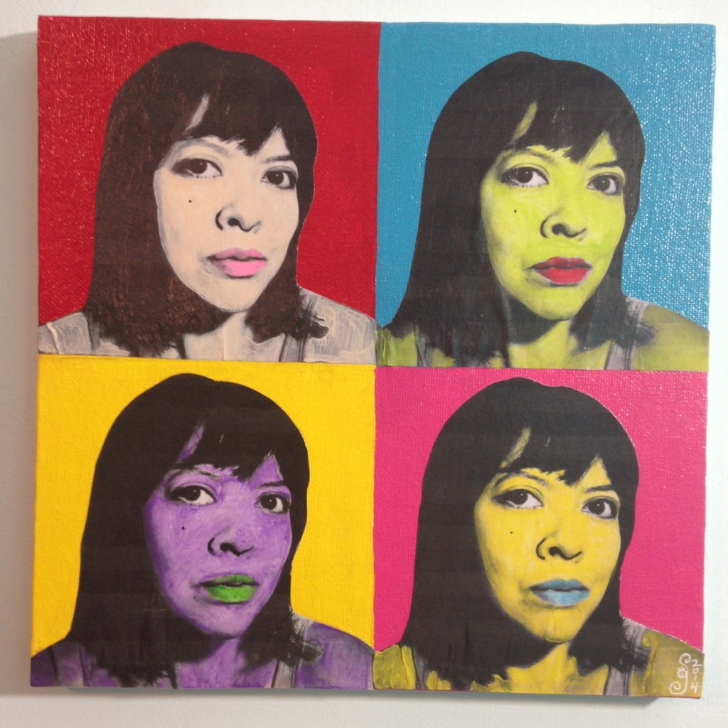 Self-Portrait- Tribute to Andy Warhol Linda Cleary 2014 Mixed-Media on Canvas