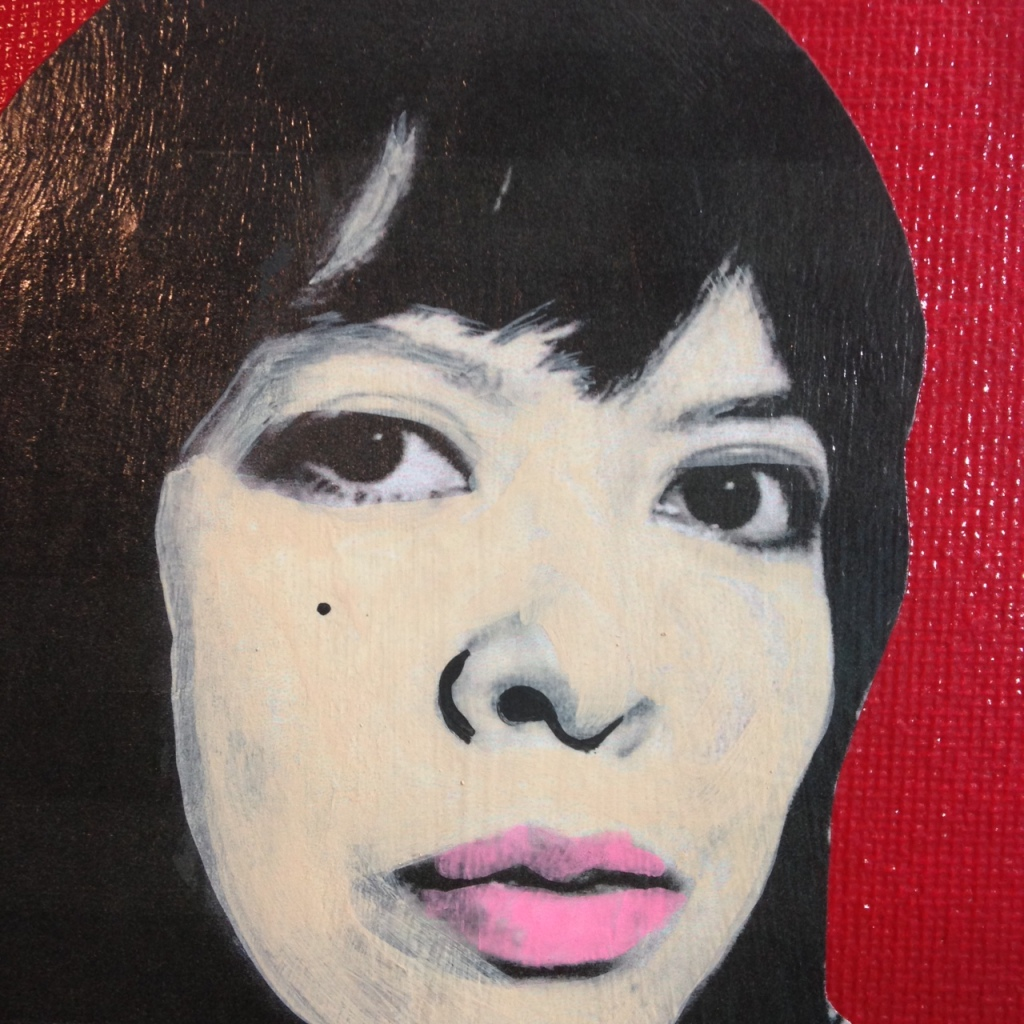 Close-Up 1 Self-Portrait- Tribute to Andy Warhol Linda Cleary 2014 Mixed-Media on Canvas