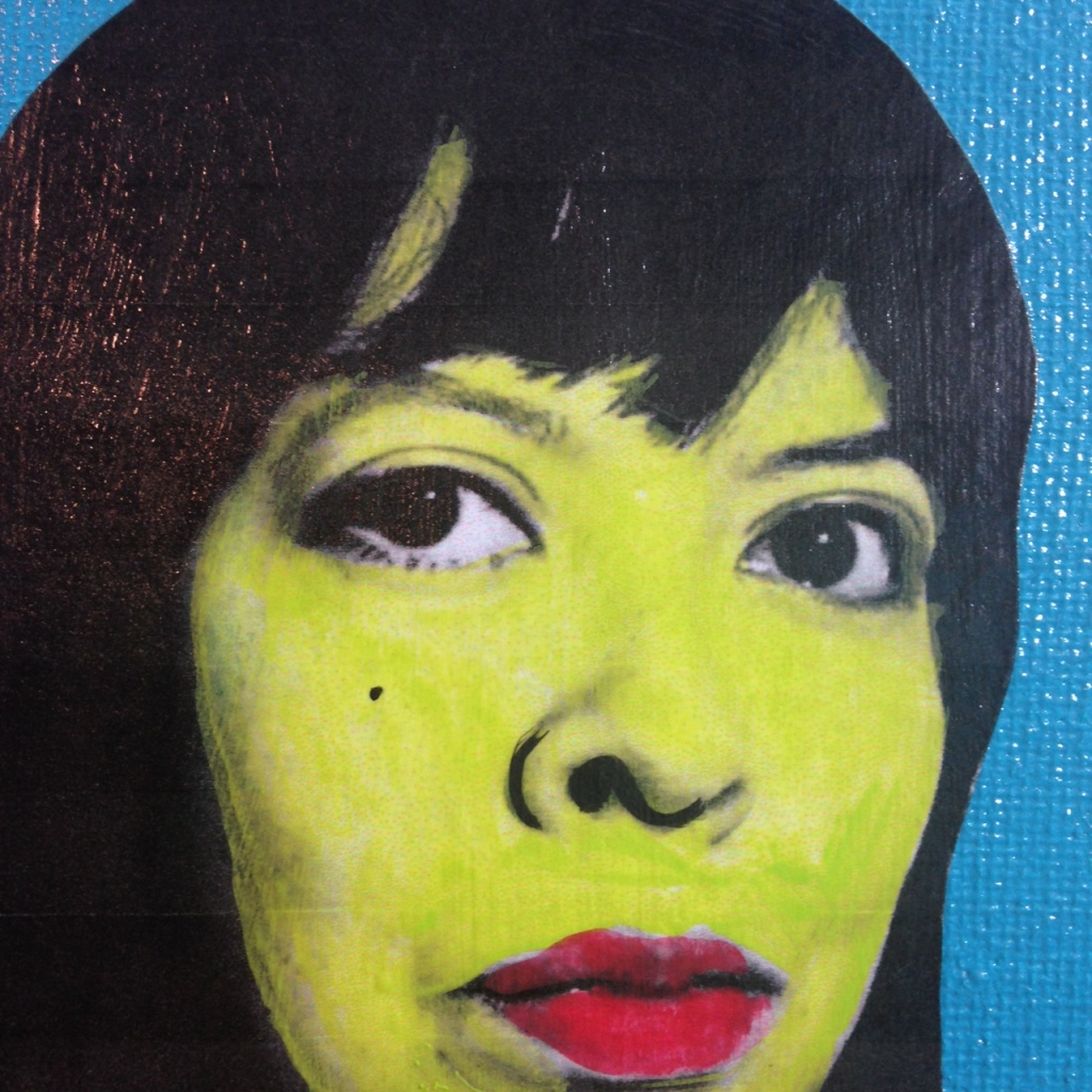 Close-Up 2 Self-Portrait- Tribute to Andy Warhol Linda Cleary 2014 Mixed-Media on Canvas