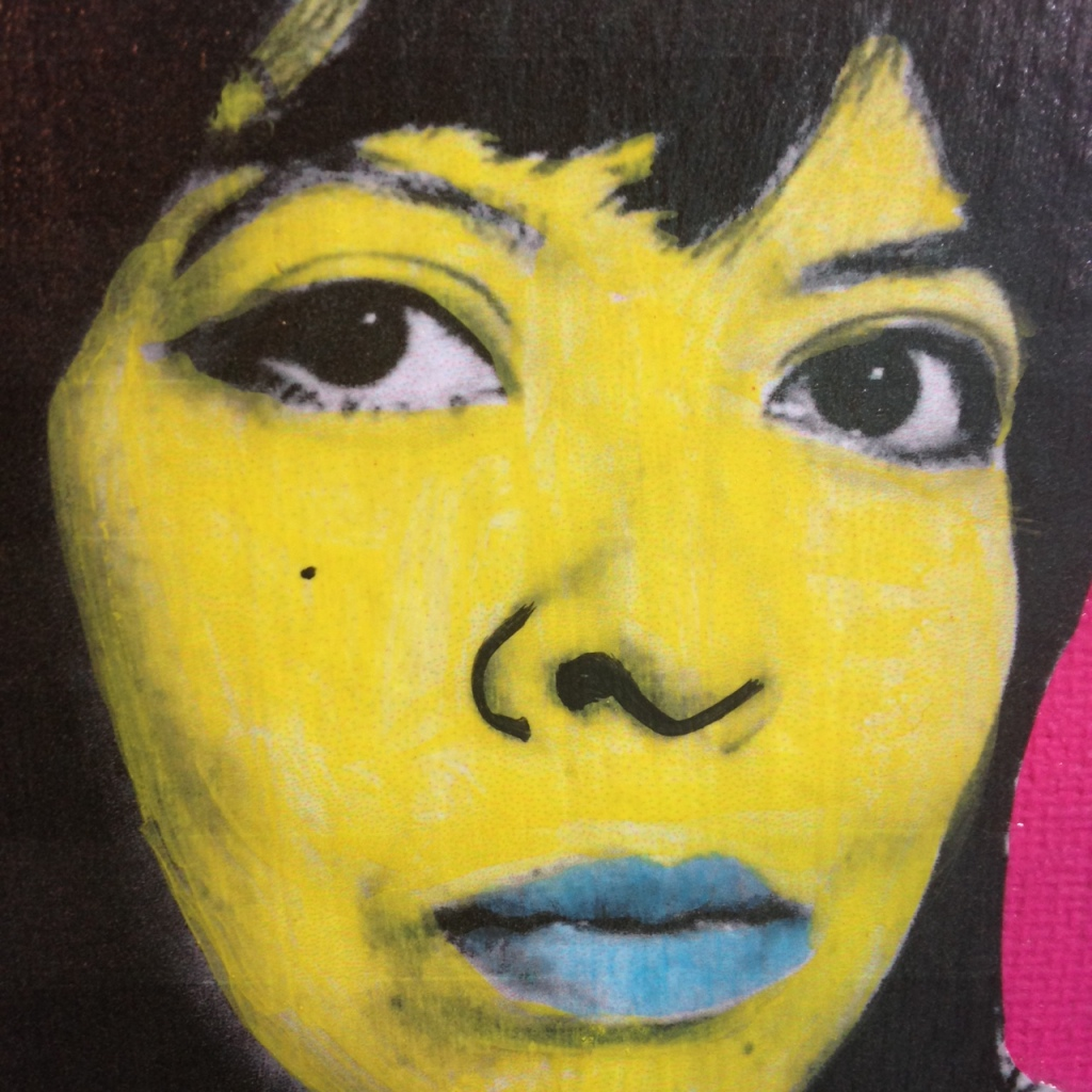 Close-Up 3 Self-Portrait- Tribute to Andy Warhol Linda Cleary 2014 Mixed-Media on Canvas