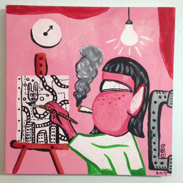 Self Portrait in Studio- Philip Guston Linda Cleary 2014 Acrylic on Canvas