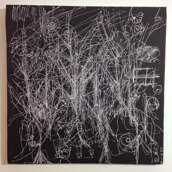 10 Minute Blind Drawing- Tribute to William Anastasi Linda Cleary 2014 Acrylic and Pen on Canvas