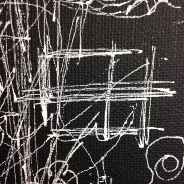 Close-Up 2 10 Minute Blind Drawing- Tribute to William Anastasi Linda Cleary 2014 Acrylic and Pen on Canvas