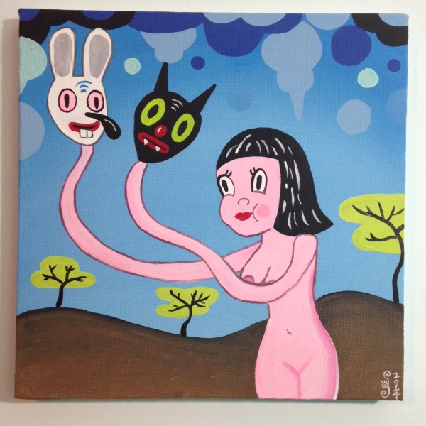 Let Me Show You My Dreams- Tribute to Gary Baseman Linda Cleary 2014 Acrylic on Canvas