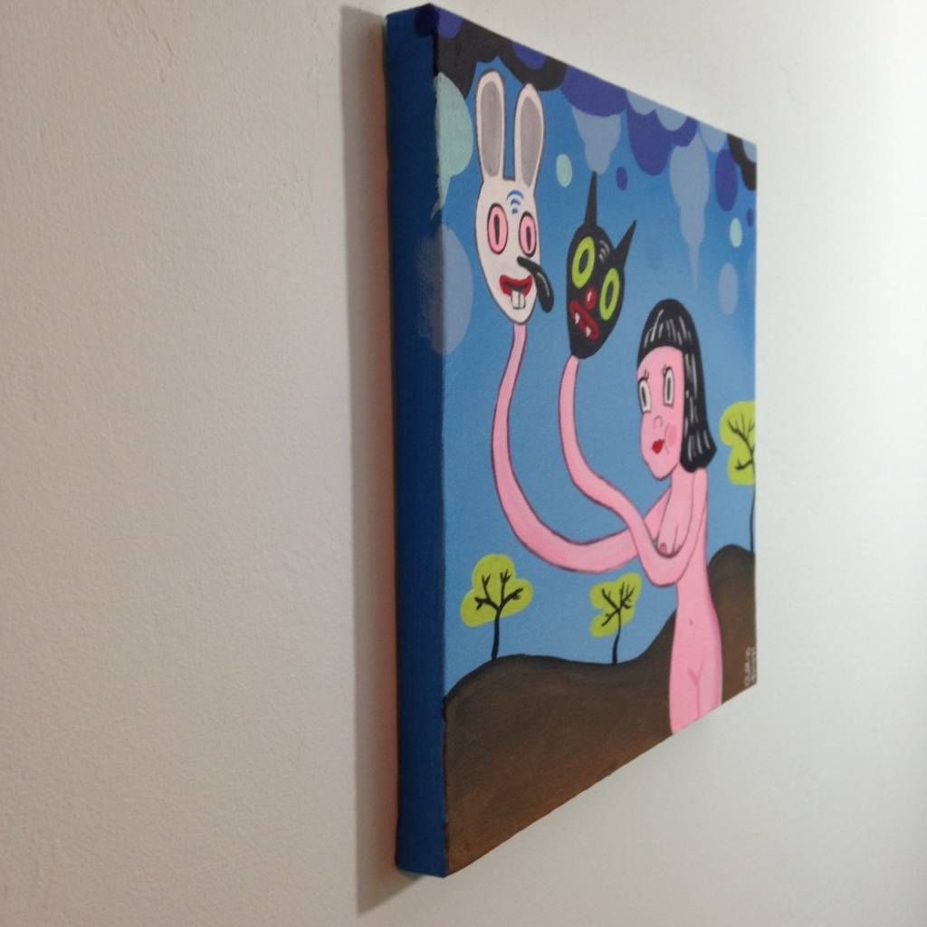 Side-View Let Me Show You My Dreams- Tribute to Gary Baseman Linda Cleary 2014 Acrylic on Canvas
