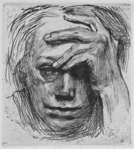 Self Portrait with Hand on Brow- Kathe Kollwitz