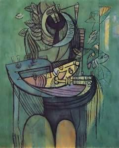 """Maternidad en verde"", c. 1942- Wifredo Lam"