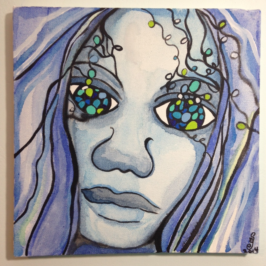 Visage d'un rêve- Tribute to Sophie Orlicki Linda Cleary 2014 Watercolor and Acrylic on Canvas
