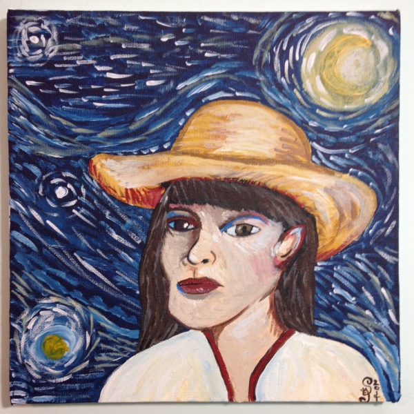 Self-Portrait with Straw Hat- Tribute to Vincent Van Gogh Linda Cleary 2014 Acrylic on Canvas