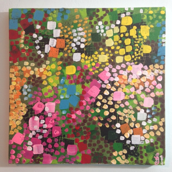 Flower Bushes- Tribute to Lynne Drexler Linda Cleary 2014 Acrylic on Canvas