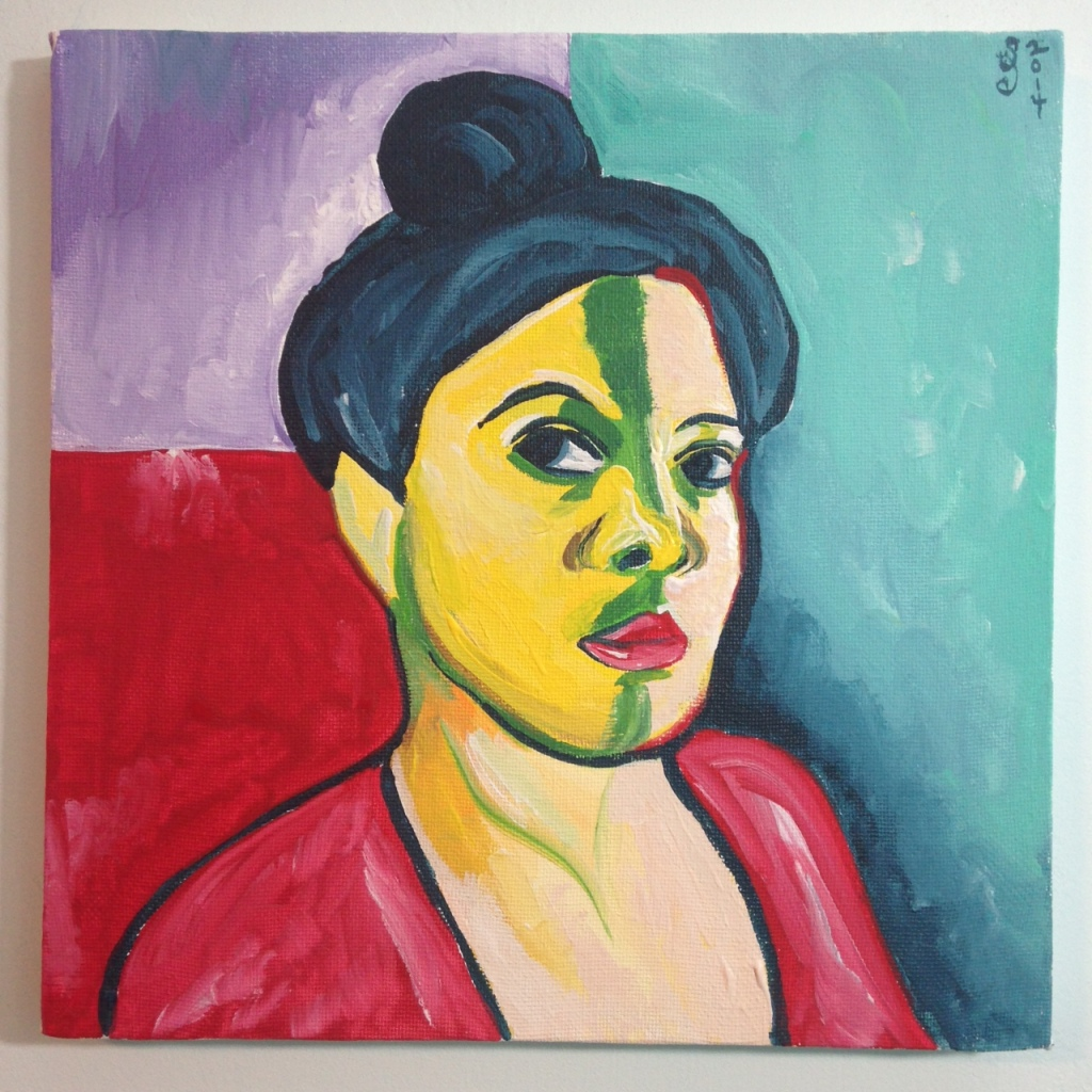 Self-Portrait (Green Stripe)- Tribute to Henri Matisse Linda Cleary 2014 Acrylic on Canvas