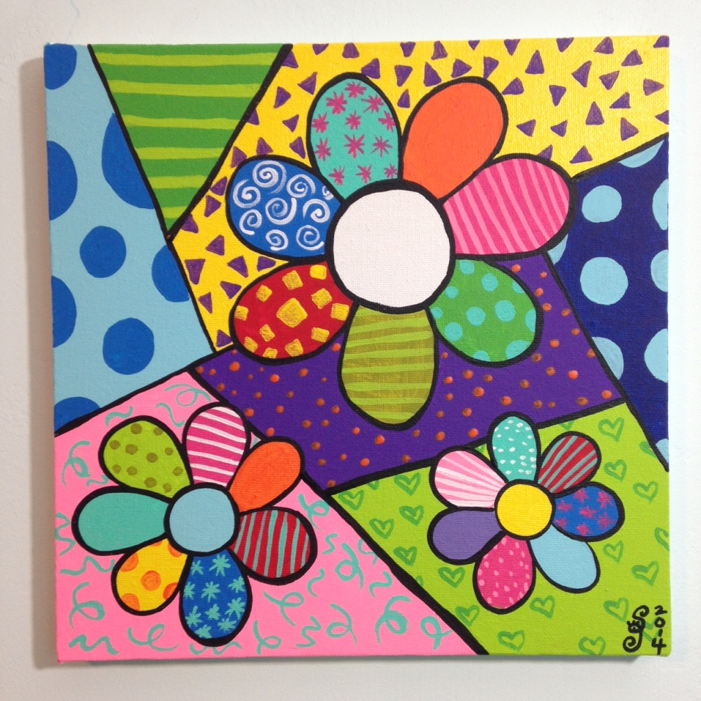 Flowers- Tribute to Romero Britto Linda Cleary 2014 Acrylic on Canvas