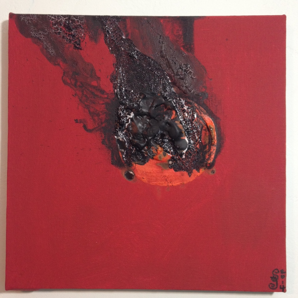 Feuer und Rauch- Tribute to Otto Piene Linda Cleary 2014 Acrylic and Burning on Canvas