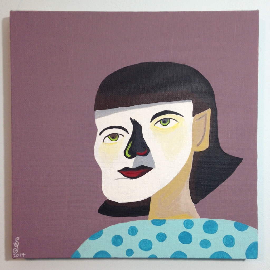 Self-Portrait- Tribute to Jim Nutt Linda Cleary 2014 Acrylic on Canvas