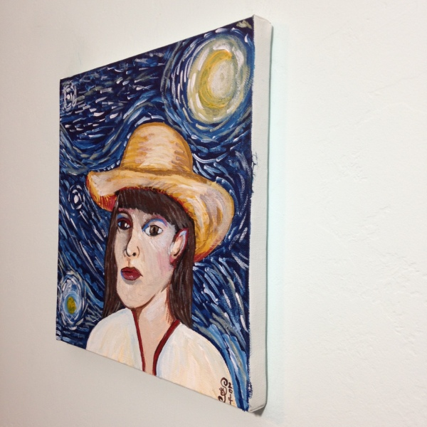 Side-View Self-Portrait with Straw Hat- Tribute to Vincent Van Gogh Linda Cleary 2014 Acrylic on Canvas