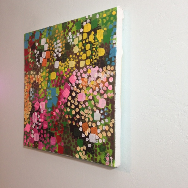 Side-View Flower Bushes- Tribute to Lynne Drexler Linda Cleary 2014 Acrylic on Canvas