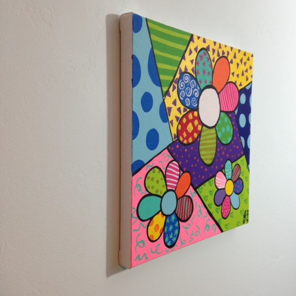 Side-View Flowers- Tribute to Romero Britto Linda Cleary 2014 Acrylic on Canvas