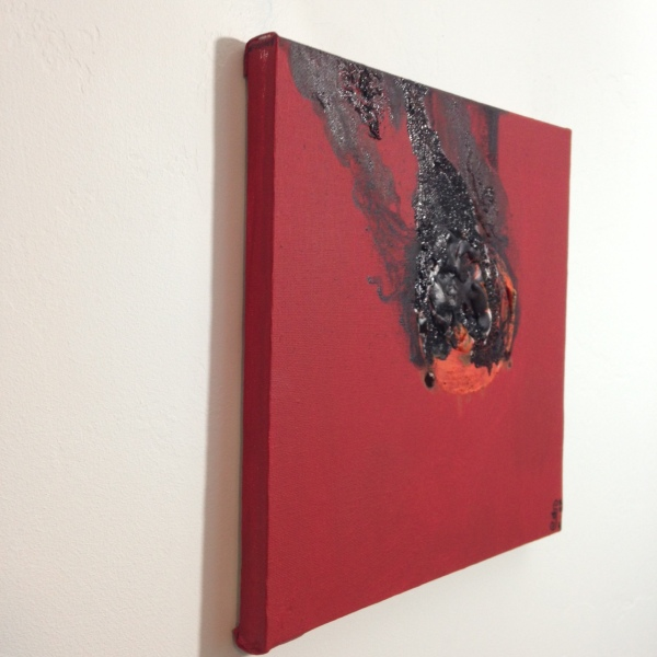 Side-View Feuer und Rauch- Tribute to Otto Piene Linda Cleary 2014 Acrylic and Burning on Canvas