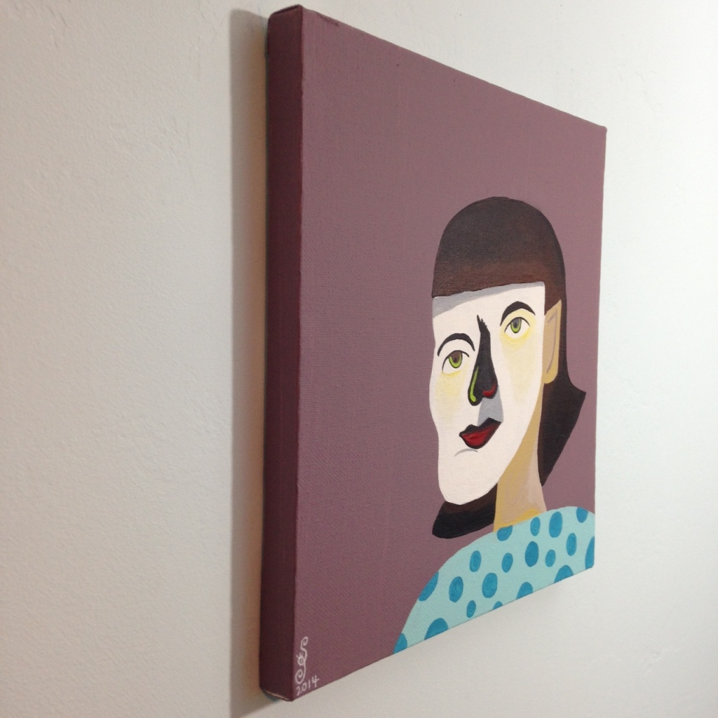Side-View Self-Portrait- Tribute to Jim Nutt Linda Cleary 2014 Acrylic on Canvas