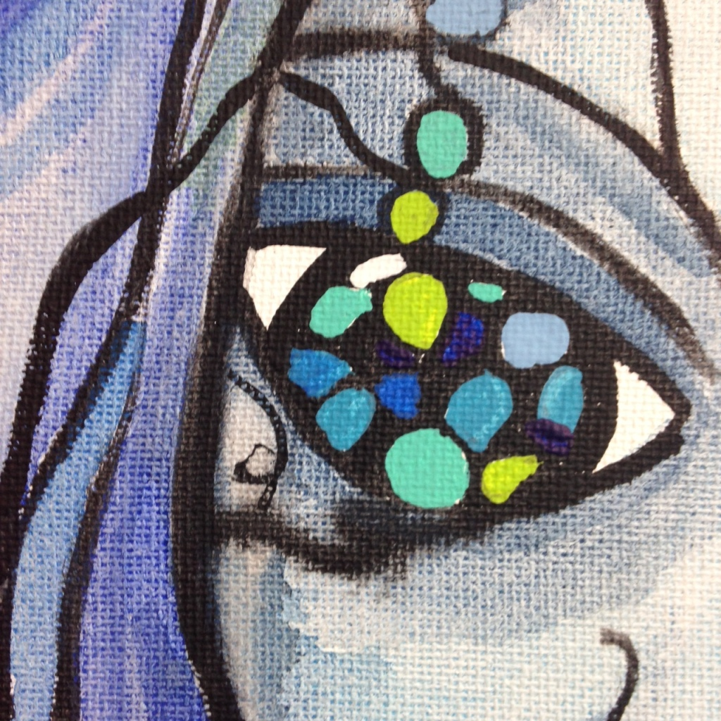 Close-Up 1 Visage d'un rêve- Tribute to Sophie Orlicki Linda Cleary 2014 Watercolor and Acrylic on Canvas