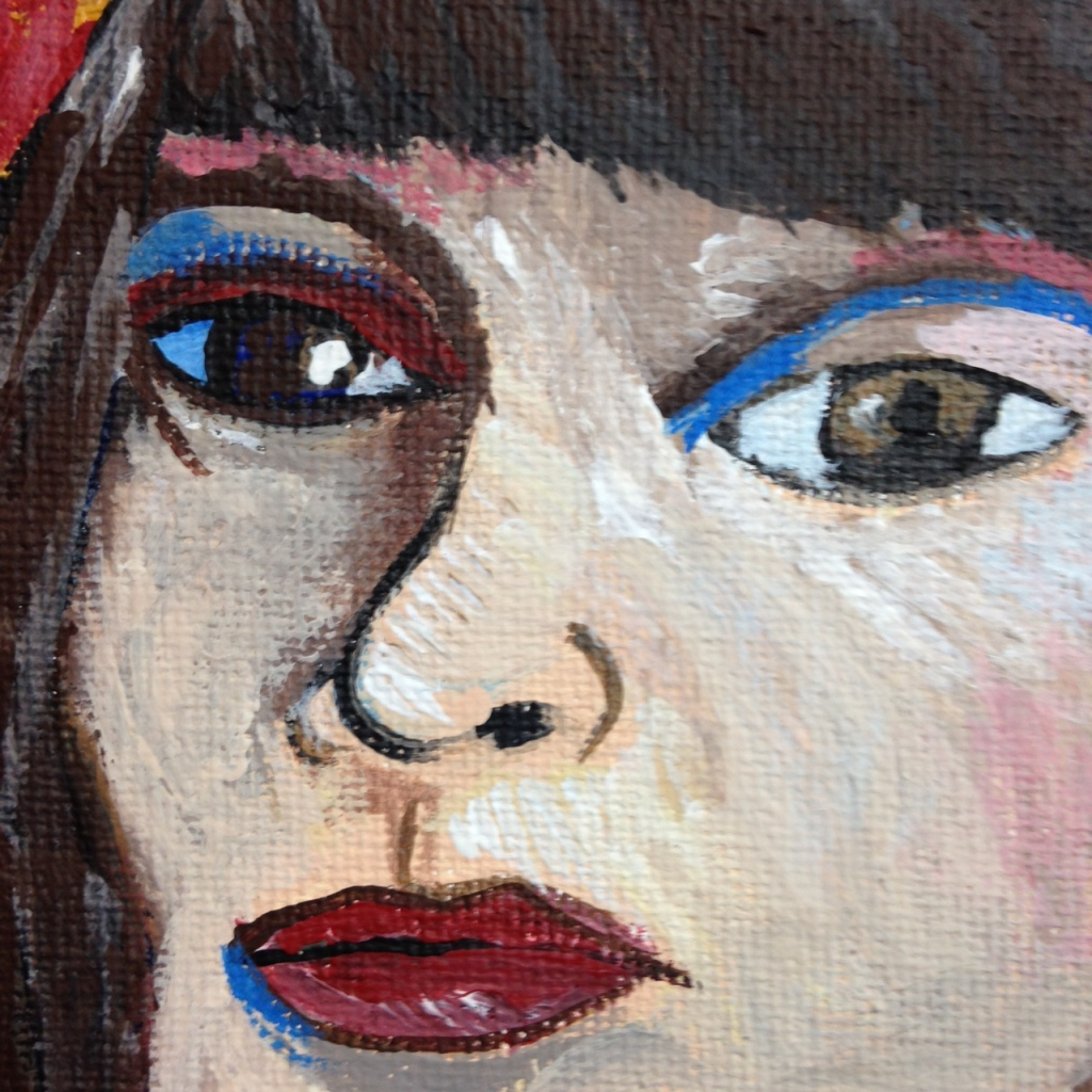 Close-Up 1 Self-Portrait with Straw Hat- Tribute to Vincent Van Gogh Linda Cleary 2014 Acrylic on Canvas